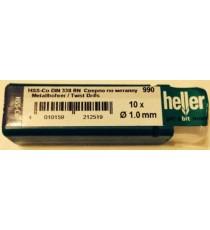 Heller 1mm HSS Cobalt Metal Drill Bits - 10 Pack