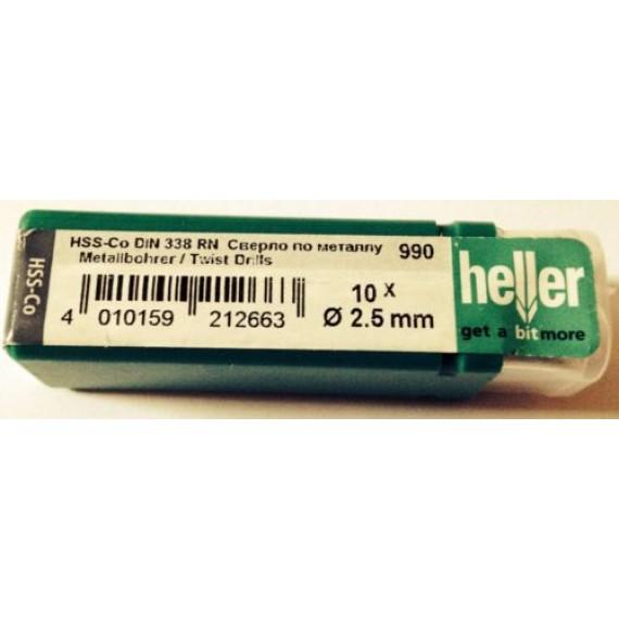 Heller 2.5mm HSS Cobalt Metal Drill Bits - 10 Pack