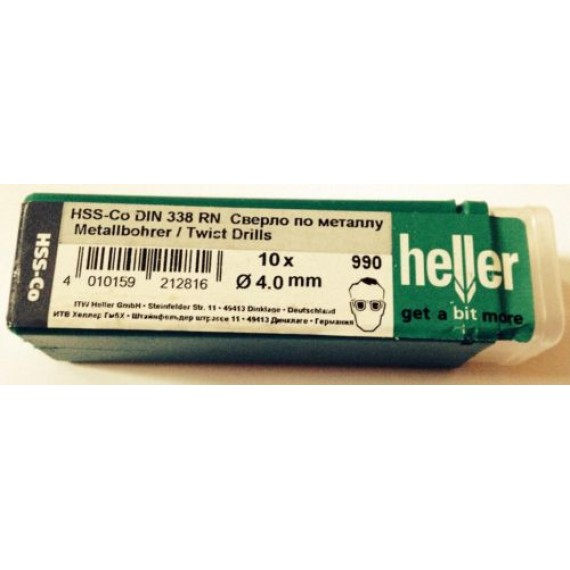 Heller 4mm HSS Cobalt Metal Drill Bits - 10 Pack
