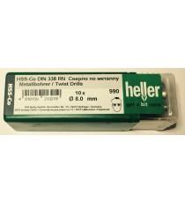 Heller 8mm HSS Cobalt Metal Drill Bits - 10 Pack