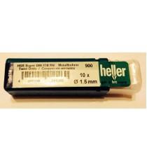 Heller 1.5mm HSS Ground Super Twist Metal Drill Bits - 10 Pack