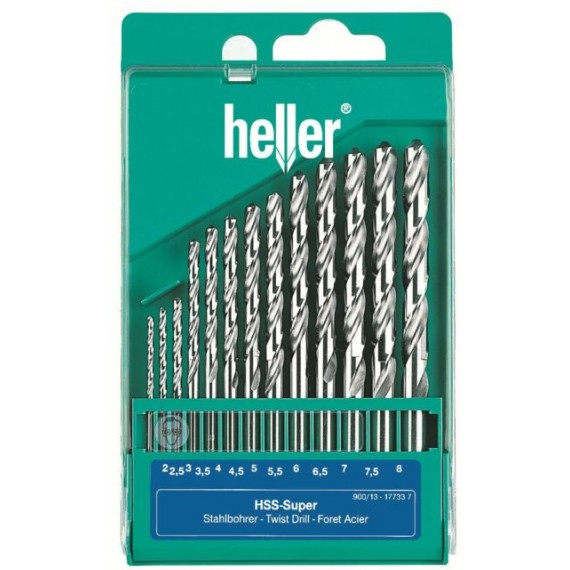 Heller 13 piece HSS Ground Super Twist Metal Drill Bit Set 2mm - 8mm