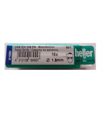 Heller 1.5mm HSS Rolled Twist Metal Drill Bits - 10 Pack