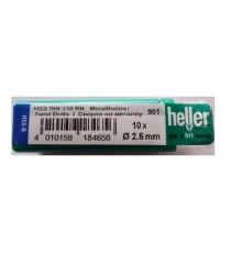 Heller 2.5mm HSS Rolled Twist Metal Drill Bits - 10 Pack