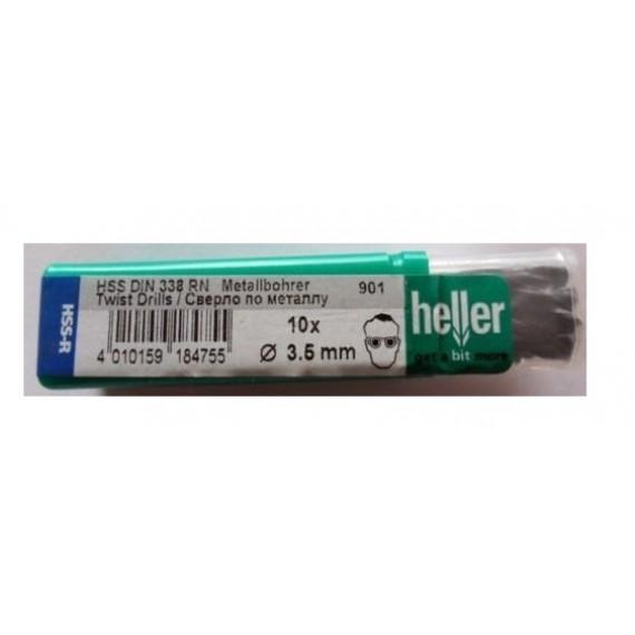 Heller 3.5mm HSS Rolled Twist Metal Drill Bits - 10 Pack