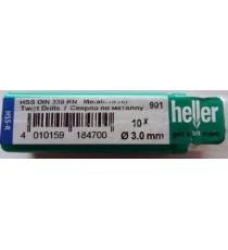 Heller 3mm HSS Rolled Twist Metal Drill Bits - 10 Pack