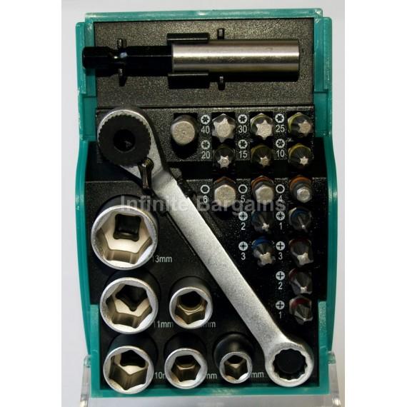 Heller 24 Piece Socket Wrench & Screwdriver Bit Set